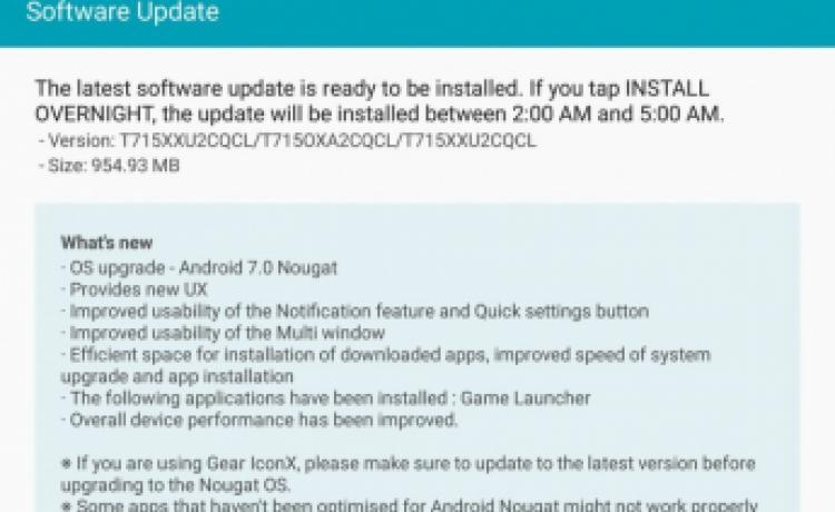 Samsung Galaxy Tab S2 8.0 и 9.7 начали обновляться до Android 7.0 Nougat